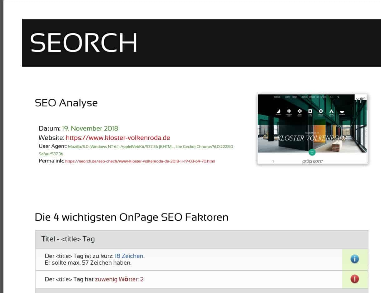 Webseiten SEO Analyse mit Soerch 1118