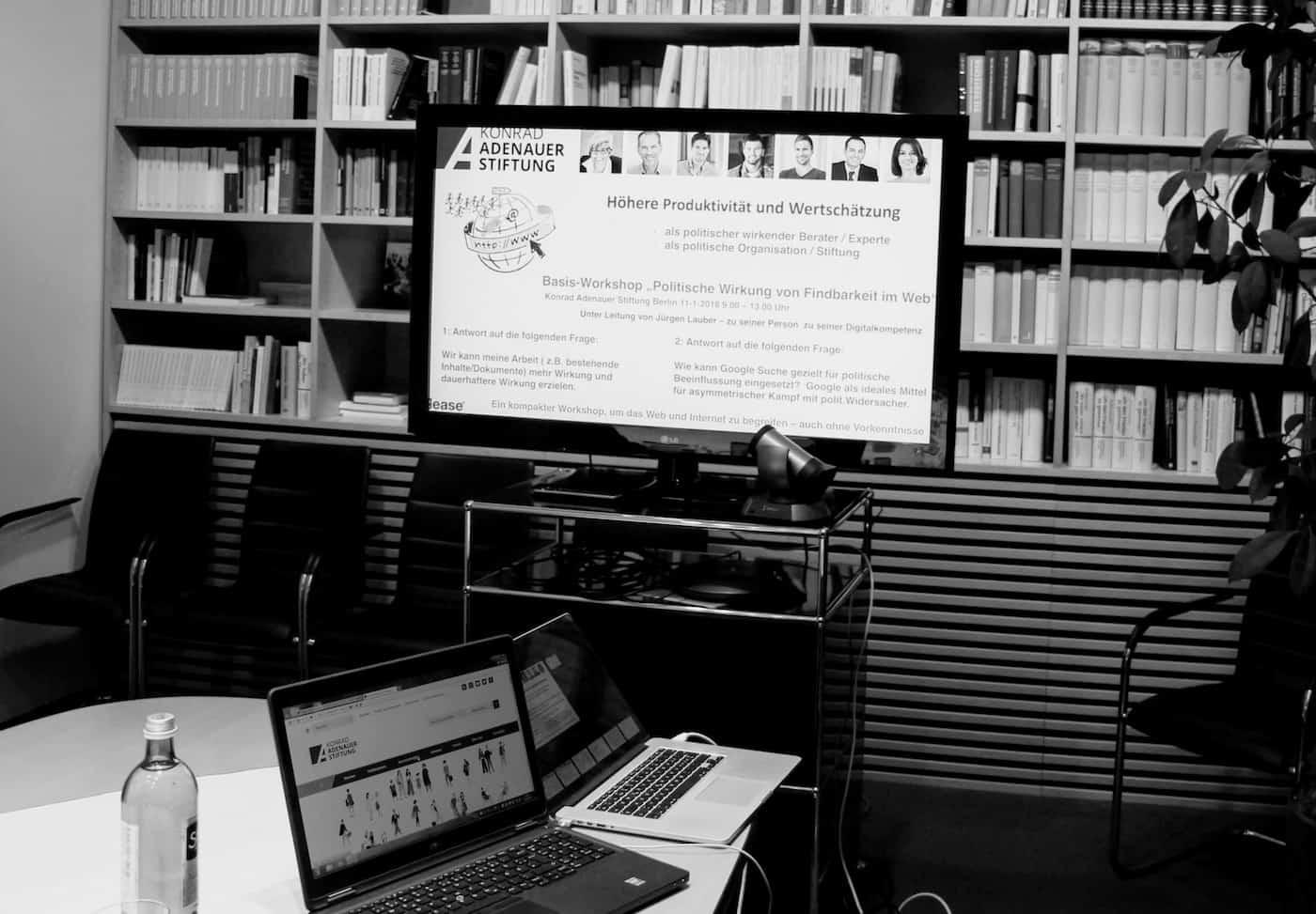 Digitalkompetenz Seminar Januar 2019 Berlin KAS Bildschirm b