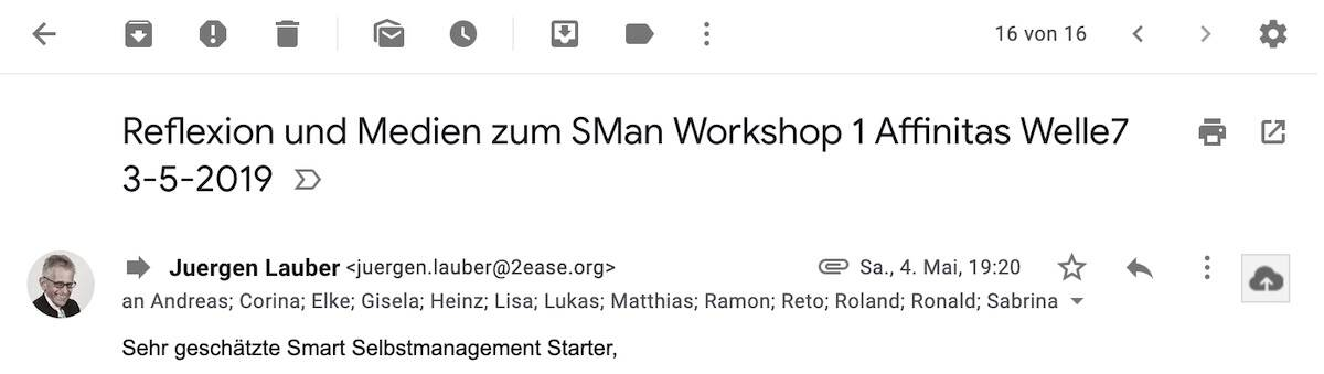 Review Mail Selbstmanagement Workshop 1 Bern 5 3-5-2019